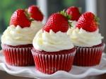 Cupcakes decorados con nata y fresas