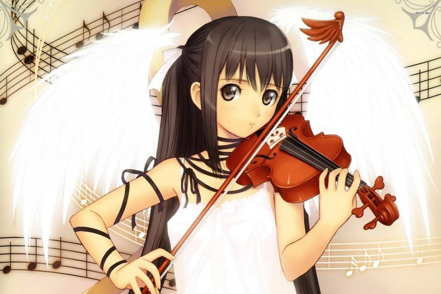 Ángel anime tocando el violín