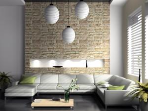 Sala de estar con sillones blancos