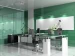 Moderna oficina con vidrio de color aguamarina