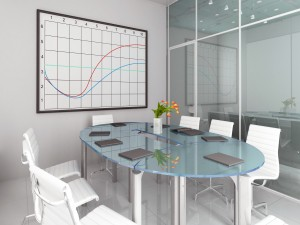 Elegante oficina con una tabla gráfica