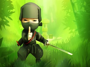 Mini ninja en el bosque