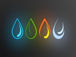 Los elementos agua, fuego, aire y tierra