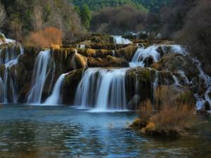 Cascadas entre piedras cubiertas de musgo