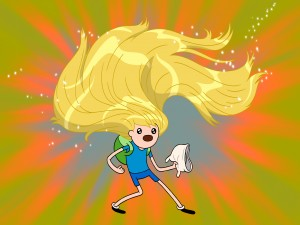 Finn con una larga y rubia melena (Adventure Time)