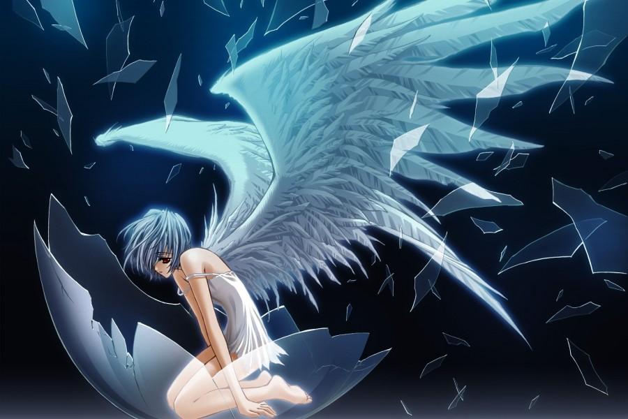 Ángel anime saliendo del cascarón