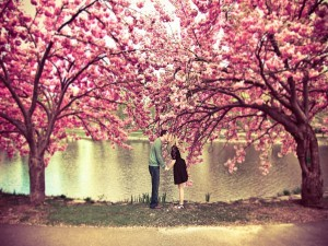 Besos en primavera junto al lago