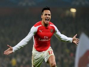 Alexis Sánchez tras meter un gol (Arsenal F.C.)