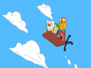 Finn y Jake volando en una silla (Adventure Time)