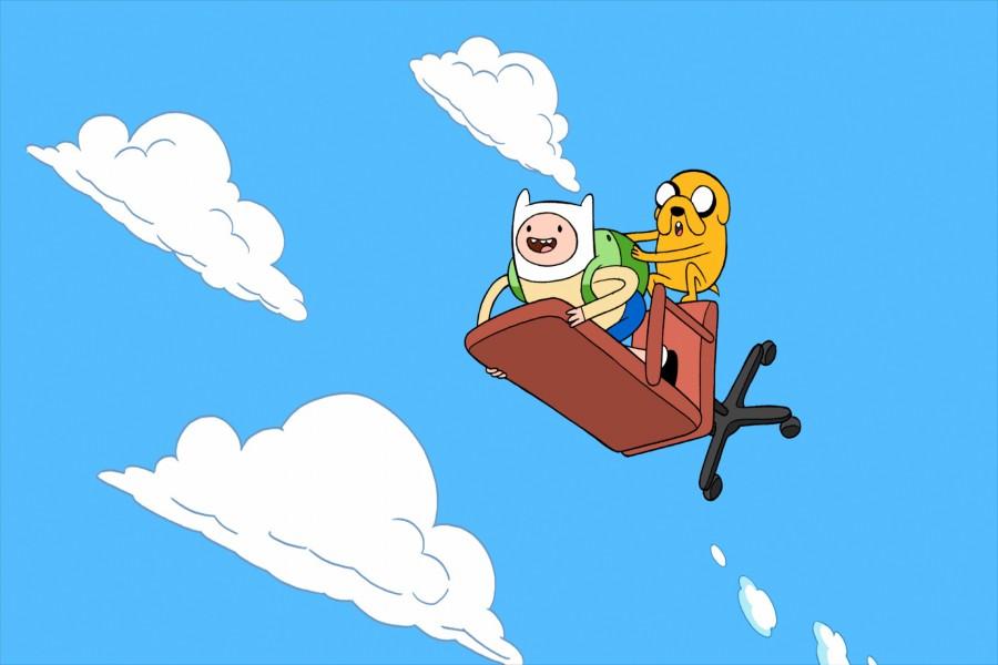 Finn y Jake volando en una silla (Adventure Time)