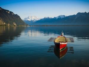 Un bote con remos en un lago tranquilo