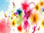 Flores y mariposas de vivos colores