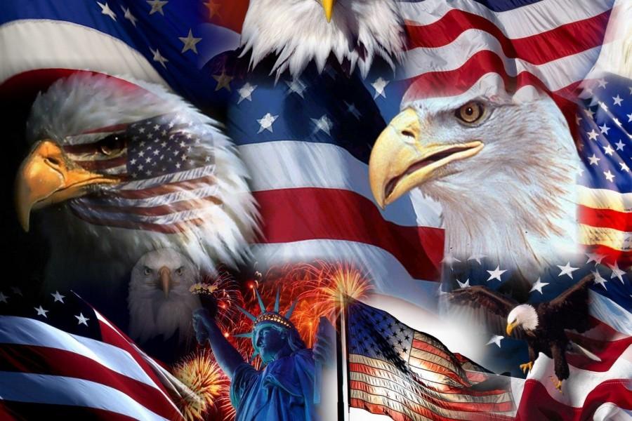 Banderas y águila de los Estados Unidos