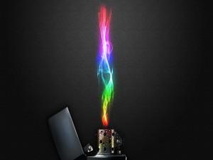 Llama de colores saliendo de un encendedor