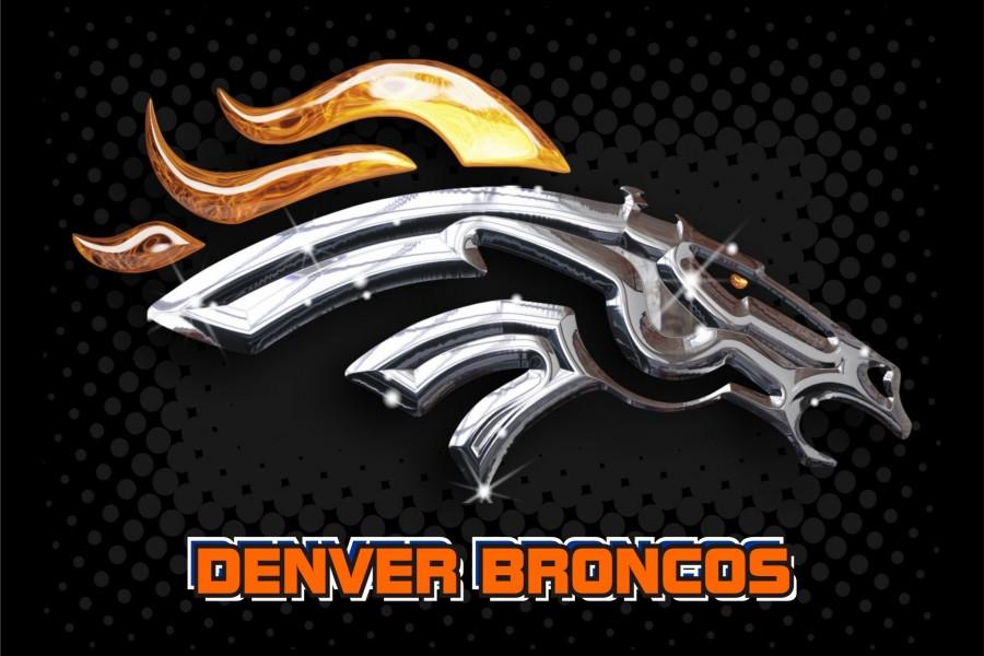Logo plateado de los Denver Broncos