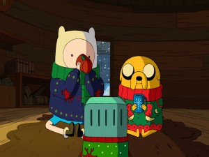 Finn y Jake tomando chocolate caliente (Adventure Time)