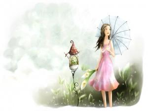 Chica paseando por el jardín