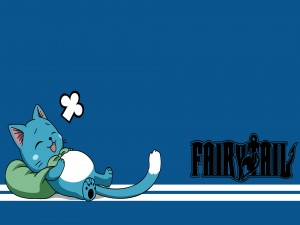 "Happy el gato de azul de ""Fairy Tail"""