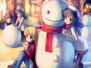 Niñas anime junto a un muñeco de nieve