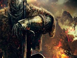 Personaje de Dark Souls junto al fuego