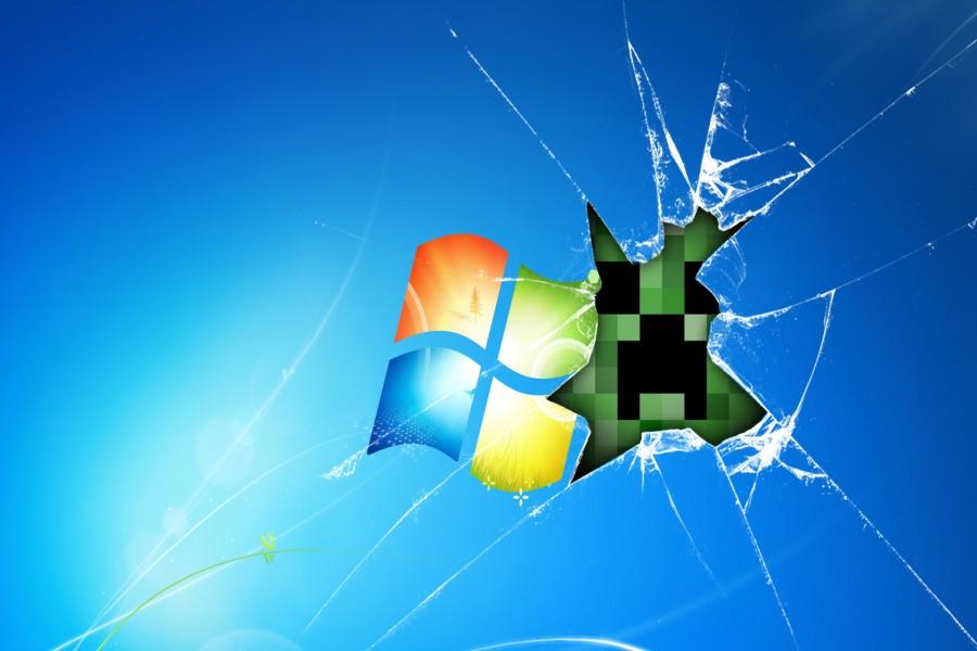 Logo de Windows en un cristal roto