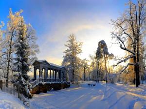 Parque cubierto de nieve