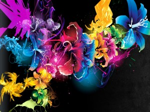 Flores abstractas de colores
