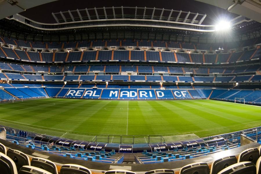 Luces en el estadio del Real Madrid