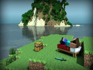 Tomando el sol en Minecraft