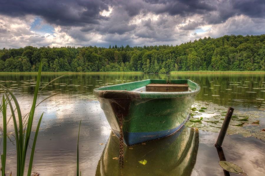 Bote amarrado a la orilla del río