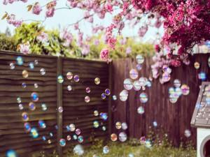Pompas de jabón en el jardín junto al cerezo en flor