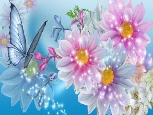 Mariposa entre flores multicolores