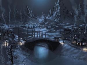 Pueblo nocturno en las montañas
