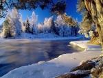Nieve y hielo a orillas del río