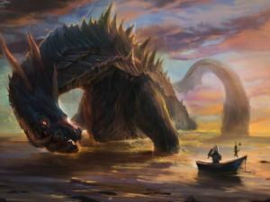 Guerrero en un bote pescando un dragón