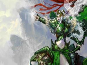 Guerrera elfa empuñando un arco