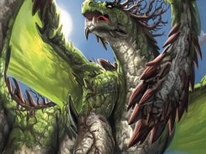 Dragón de color verde con las alas desplegadas