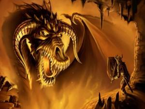 Dragón gigante luchando con un valiente guerrero