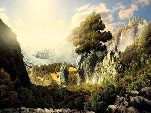 Árbol de la vida en la cima de un acantilado rocoso