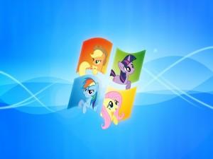"""Los personajes de """"My Little Pony"""" dentro del logo Windows"""