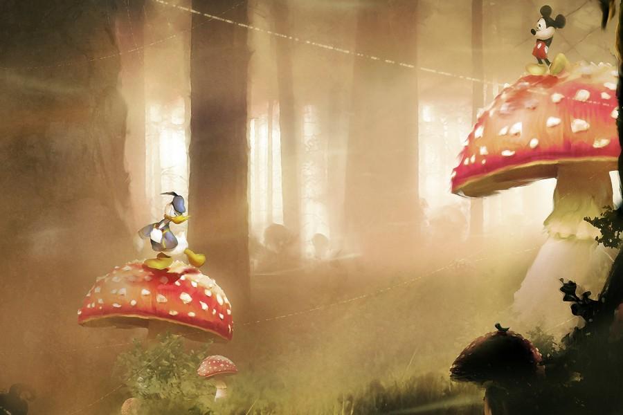 Mickey y Donald sobre unos hongos gigantes