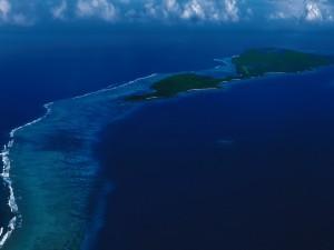 Formación de islas en el mar Caribe