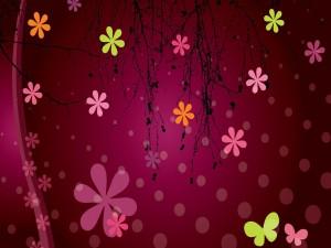 Flores en un fondo fucsia