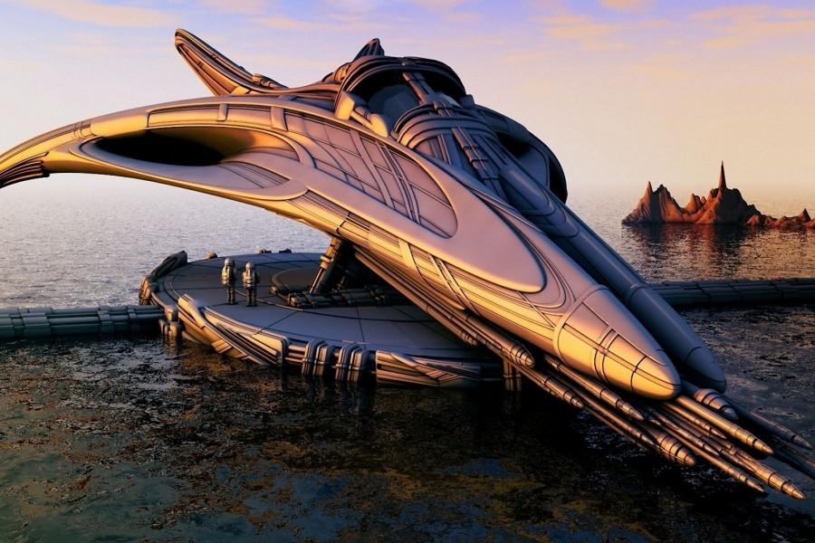 Diseño de nave espacial futurísta