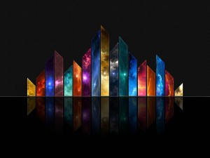 Cristales con nubes de colores