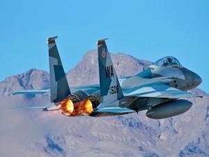 Aeronave McDonell Douglas F-15 Eagle surcando los aires
