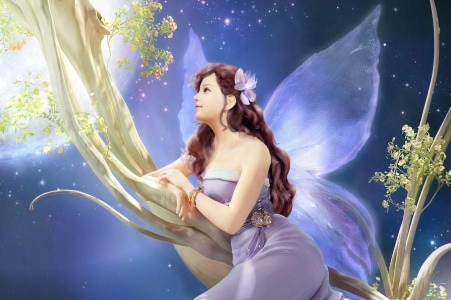 Hada soñadora con un vestido color lila