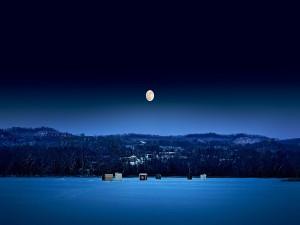 Hermosa luna iluminando la noche