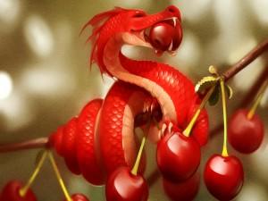 Dragón comiendo una cereza