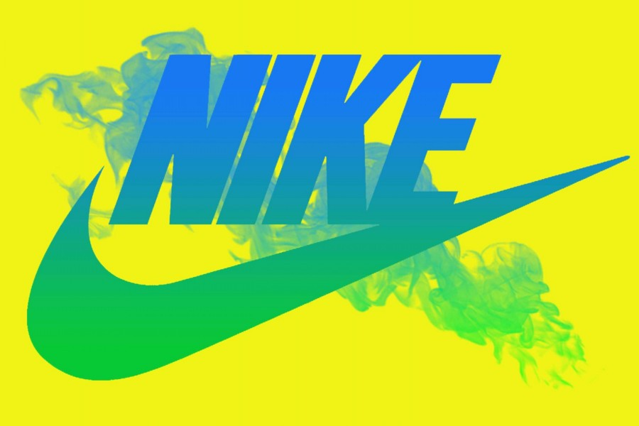 Logo de Nike en fondo amarillo